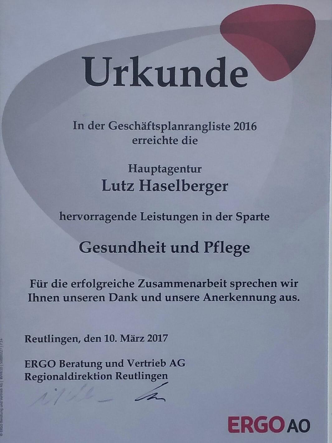 Auszeichnungen Lutz