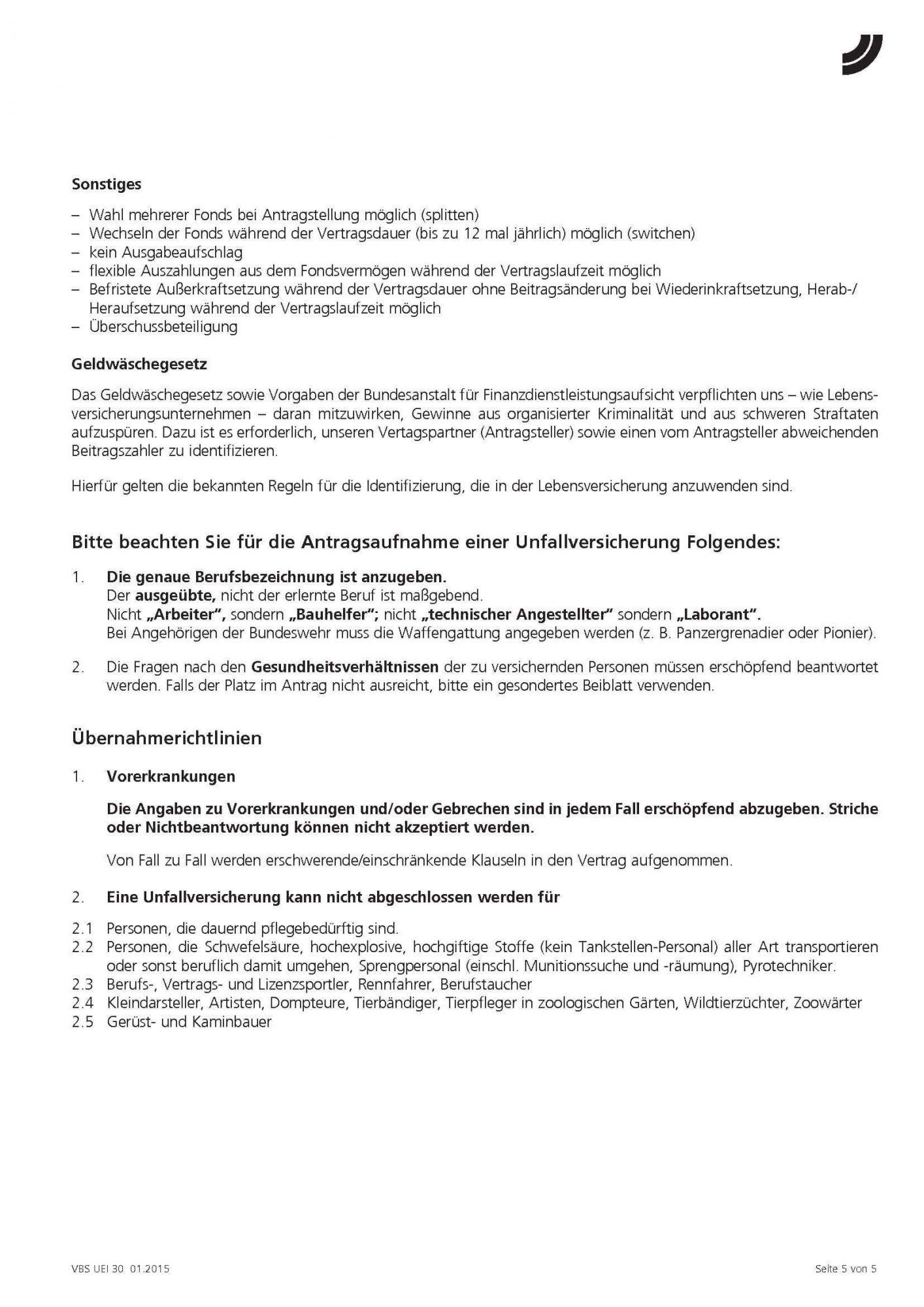 Unfall Easy, Volkswohl Bund, Versicherungssummen
