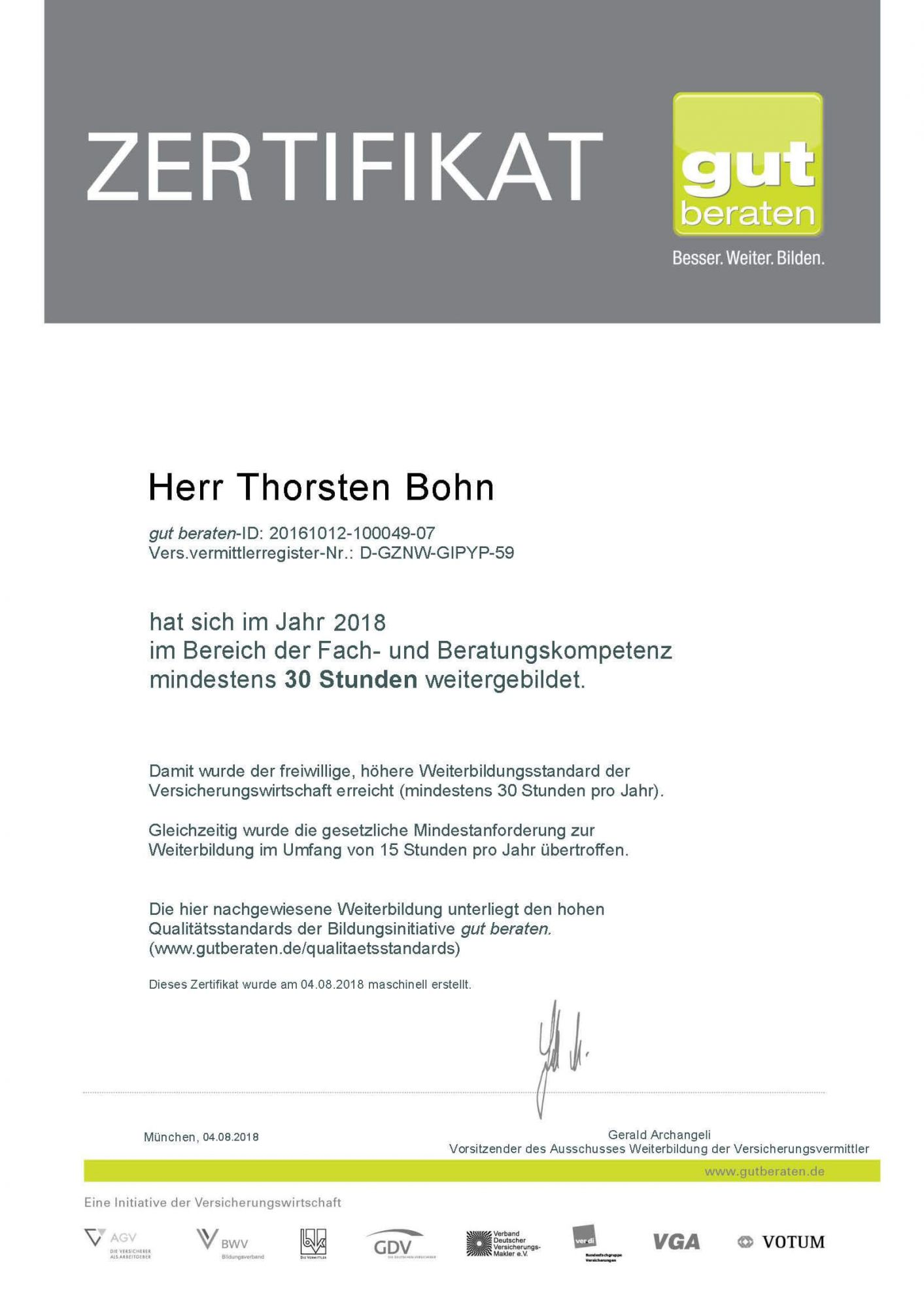 gut beraten Zertifikat 2018