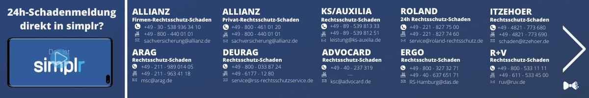 ARAG, Allianz, Itzehoer, Roland, R+V, AdvoCARD, Ergo, KS und viele mehr direkt zum anrufen, mailen und Schaden melden.